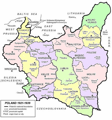 Capital Of Poland Map.Interwar Maps Of Poland 1918 1939